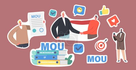 Illustration pour Set of Stickers Businesspeople Characters with MOU Documents, Pile of Memorandum of Understanding Documentation That Describe Broad Outlines of Agreement, Handshake. Cartoon People Vector Illustration - image libre de droit
