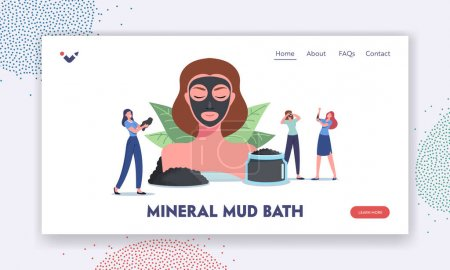 Illustration pour Mineral Mud Bath Landing Page Template. Spa Natural Beauty and Cosmetology. Tiny Female Characters around Huge Woman Head with Charcoal Cream Mask, Face Skin Care. Cartoon People Vector Illustration - image libre de droit
