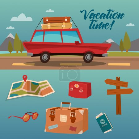 Illustration for Family Vacation Time. Active Summer Holidays by Car. Vector illustration - Royalty Free Image