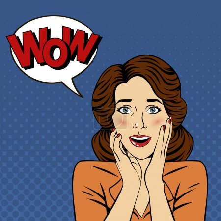Illustration for Surprised Woman with Bubble and Expression Wow in Comics Style. Vector illustration - Royalty Free Image