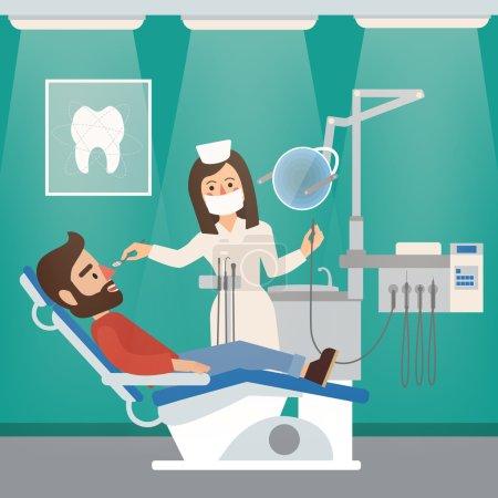 Illustration pour Cabinet dentiste intérieur avec médecin, patient, outils dentaires et chaise. Illustration vectorielle en style plat - image libre de droit