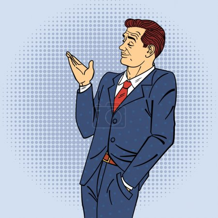 Illustration for Advertising Man in Pop Art Style Pointing Hand on your Product. Vector illustration - Royalty Free Image