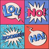 Set of Comics Bubbles in Pop Art Style Expressions Lol No Ha Boom