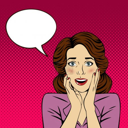 Illustration for Surprised Woman with Bubble for Expression in Pop Art Style. Vector illustration - Royalty Free Image