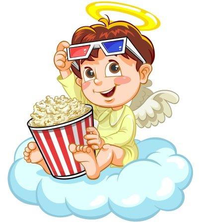 Angel watching movie