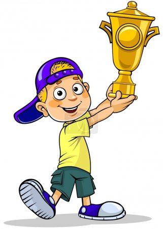 Illustration for A vector cartoon illustration of a school boy holding a trophy. - Royalty Free Image