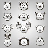 Vector illustration of animal face set