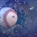 3d render baseball through broken glass....