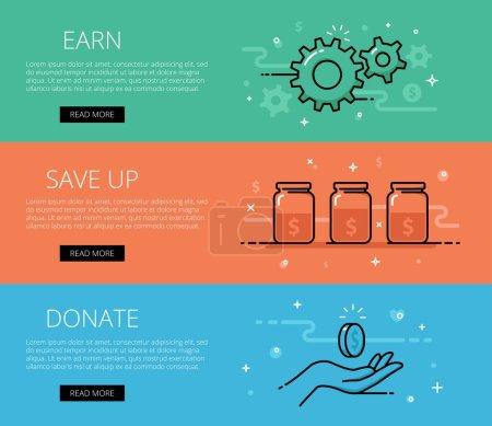 Linear financial web banners vector set. Line gear...