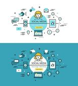 Set of trendy vector illustration concepts of social media Line flat design hero banners for websites and apps with call to action button ready to use