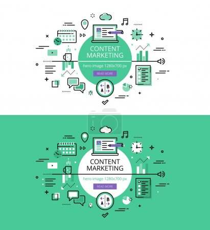 Content Marketing. Flat line color hero images and hero banners