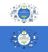 Lead Generation Flat line color hero images and hero banners de