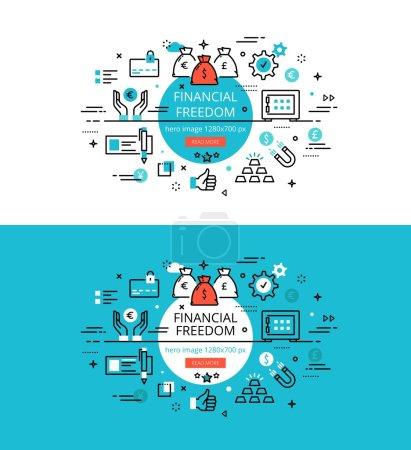 Illustration pour Ensemble de concepts modernes d'illustration vectorielle de l'indépendance financière. Ligne de bannières de héros design plat pour les sites Web et les applications avec bouton d'appel à l'action, prêt à l'emploi - image libre de droit