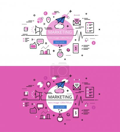 Illustration for Set of modern vector illustration concepts of marketing. Line flat design hero banners for websites and apps with call to action button, ready to use - Royalty Free Image