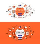 Set of trendy vector illustration concepts of WOM marketing Line flat design hero banners for websites and apps with call to action button ready to use