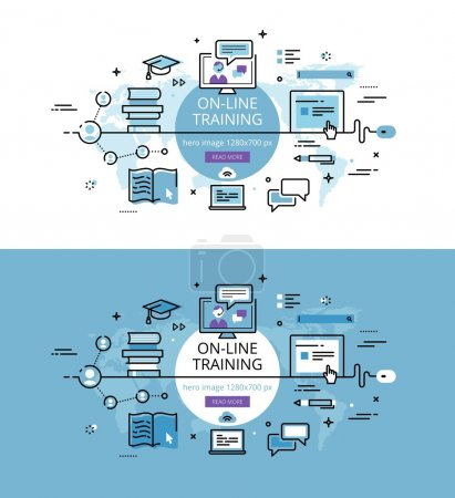 On-line training. Flat line color hero images and hero banners d