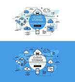 Set of modern vector illustration concepts of cloud storage Line flat design hero banners for websites and apps with call to action button ready to use