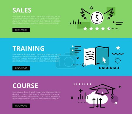 Sales Training Course. Web banners vector set