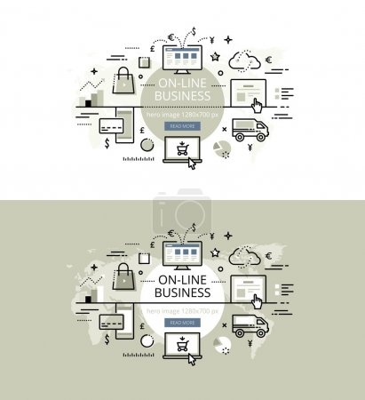On-line business. Flat line color hero images and hero banners d