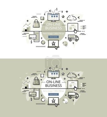 Illustration pour Ensemble de concepts modernes d'illustration vectorielle de l'entreprise en ligne. Ligne de bannières de héros design plat pour les sites Web et les applications avec bouton d'appel à l'action, prêt à l'emploi - image libre de droit