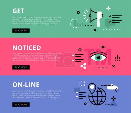 Get Noticed On-line. Web banners vector set