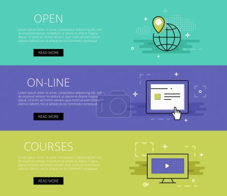 Open On-line Courses. Vector banners set