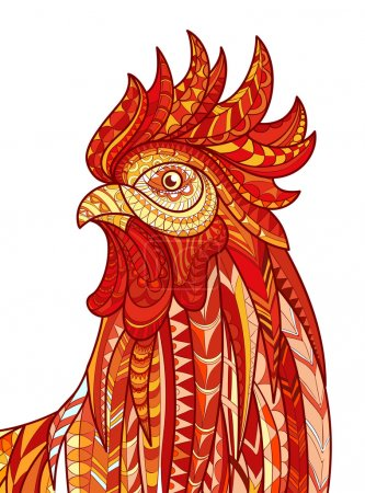 Hand drawn doodle outline rooster illustration. Patterned fiery on the white background. Symbol of chinese new year 2017.