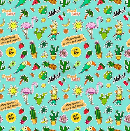 Seamless pattern with fashion patch badges. Pop art. Vector background stickers, pins, patches in cartoon 80s-90s comic style. Trend. Tropical fruits, parrots, cactuses, leaves.