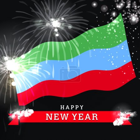 new year card with flag of Dagestan