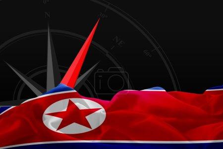 North Korea flag and Navigation compass