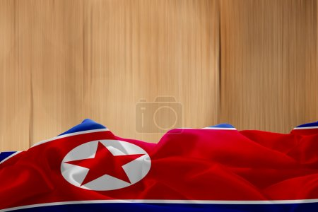 North Korea flag on wooden background