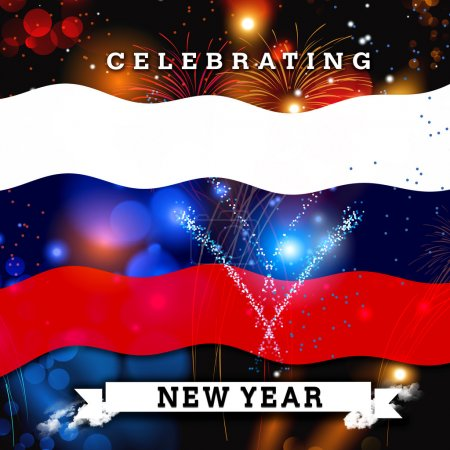 new year card with Russia flag
