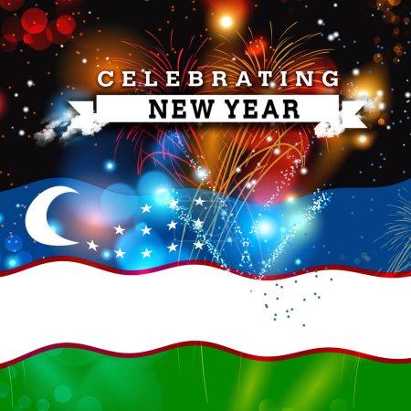 new year card with Uzbekistan flag