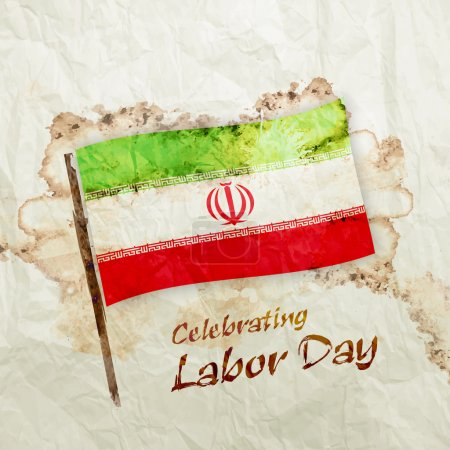 Iran flag on watercolor grunge paper