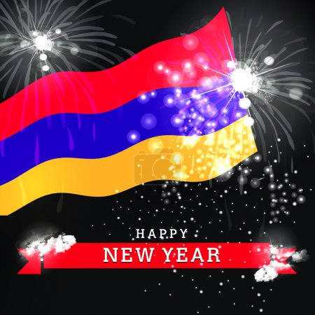 new year card with flag of Armenia