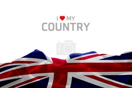 Photo pour J'aime mon pays avec drapeau Uk - image libre de droit
