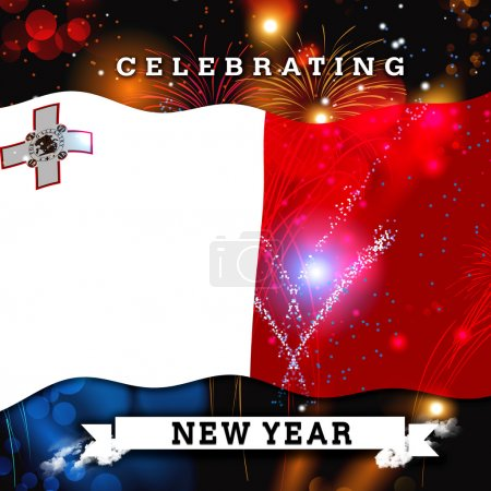 new year card with flag of Malta