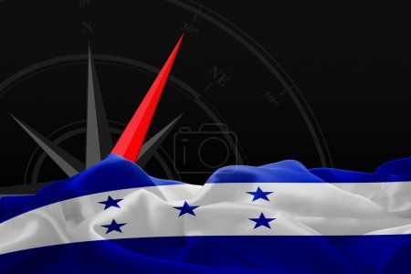Honduras flag and Navigation compass