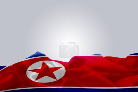 Flag of North Korea moved by the wind