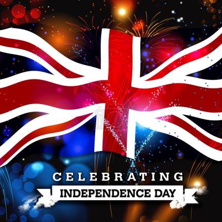 Photo pour Feux d'artifice de la fête de l'indépendance et drapeau britannique. concept - image libre de droit