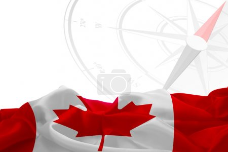 Canadian flag and compass