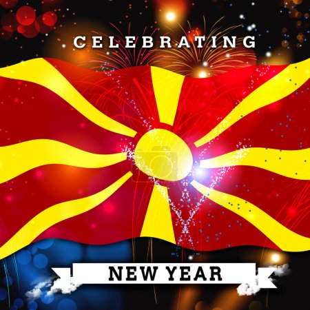 new year card with flag of Macedonia