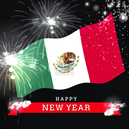 new year card with flag of Mexico