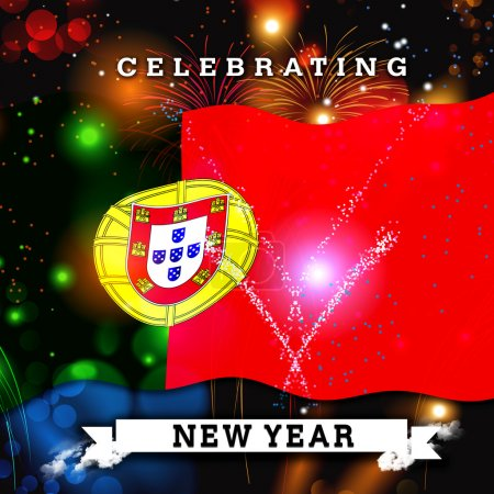 new year card with flag of Portugal