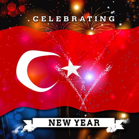 Turkey Flag and New Year Fireworks