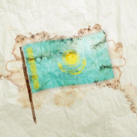 Kazakhstan flag on paper background