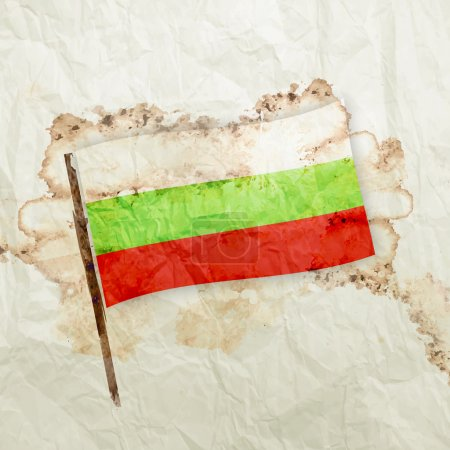 Bulgaria flag on watercolor grunge paper