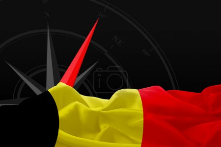 Belgium flag and compass