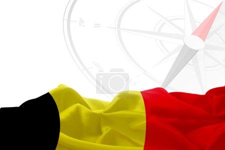 Belgium flag and compass