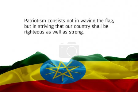 waving flag of Ethiopia